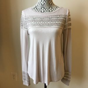FREE PEOPLE long sleeve top with mesh detail